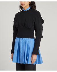 Enfold Socks Reconstructed Knit Sweater - Black