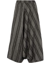 Crea Concept Cropped Striped Trousers - Grey
