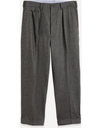 Beams Plus 2 Pleats Flannel Trousers - Grey
