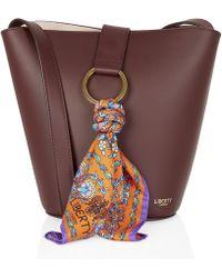 Liberty - Brigitte Leather Mini Bucket Bag With Lodden Silk Scarf - Lyst