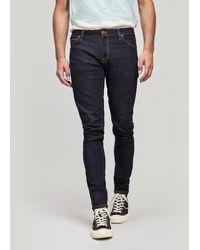Nudie Jeans Skinny Lin Dry Deep Orange Organic Jeans - Blue