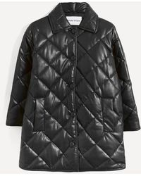 Stand Studio Jacey Quilted Faux-leather Coat - Black