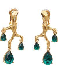 Oscar de la Renta Branch Crystal Earrings - Green