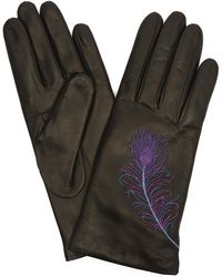 Portolano - Nappa Leather Peacock Feather Gloves - Lyst
