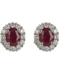 Kojis - White Gold Diamond Cluster Ruby Ear Studs - Lyst