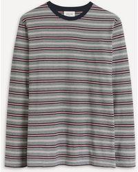 WOOD WOOD Peter Striped T-shirt - Grey