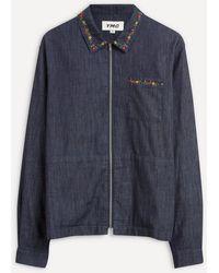 YMC Bowie Floral Denim Shirt - Blue