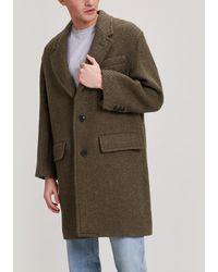 AMI Chevron Virgin Wool Overcoat - Green