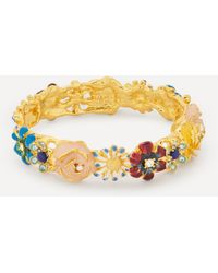 Kenneth Jay Lane Gold-plated Enamel Flower Bangle - Metallic