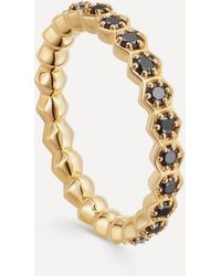 Astley Clarke Gold Plated Vermeil Silver Deco Black Spinel Eternity Ring - Metallic