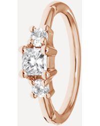 Maria Tash 18ct 8mm Diamond Princess Single Hoop Earring - Metallic