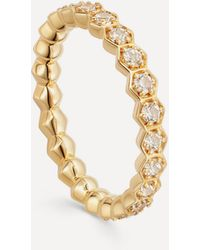 Astley Clarke Gold Plated Vermeil Silver Deco White Sapphire Eternity Ring - Metallic