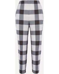 Pleats Please Issey Miyake Checked Pleated Trousers - Black