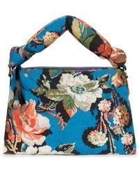 Dries Van Noten Medium Floral Jacquard Padded Handbag - Blue
