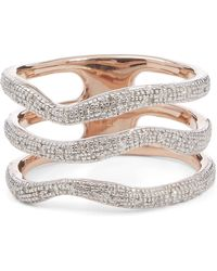 Monica Vinader Rose Gold Plated Vermeil Silver Riva Diamond Wave Triple Band Ring - Metallic
