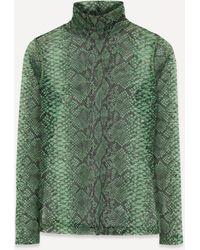 Dries Van Noten Snakeskin Print Mesh Turtleneck Top - Green