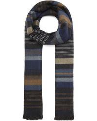 Nick Bronson Block Stripe Herringbone Scarf - Blue