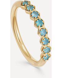 Astley Clarke Gold Plated Vermeil Silver Deco Blue Agate Half Eternity Ring - Metallic