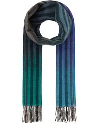 Paul Smith Gradient Stripe Wool And Cashmere-blend Scarf - Blue
