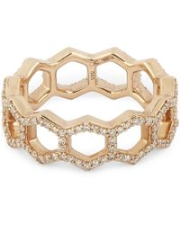 Astley Clarke Honeycomb Ring - Metallic