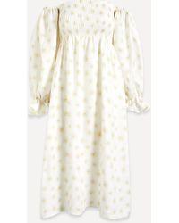 Sleeper Atlanta Puff-sleeve Linen Midi-dress - Natural