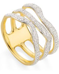 Monica Vinader Gold Vermeil Riva Wave Triple Band Diamond Ring