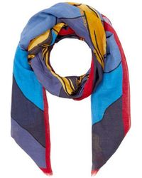 Drake's Lobster Cotton And Linen-blend Scarf - Blue