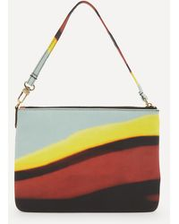 Dries Van Noten Striped Zip Pouch Bag - Yellow