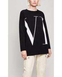 Valentino - Black Cashmere Logo Jumper - Lyst