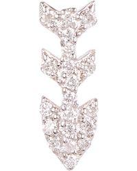 Kismet by Milka - Gold Three-arrow White Diamond Single Stud Earring - Lyst
