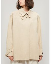 Low Classic Double Collar Cotton Shirt - Natural
