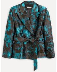 Dries Van Noten Floral Jacquard Jacket - Blue