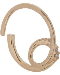 Maria Black Gold Acrobat Pink Sapphire Hoop Earring Left - Metallic