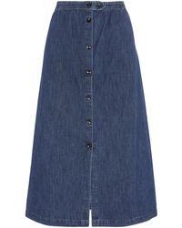 A.P.C. Deauville Denim Midi-skirt - Blue