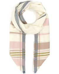 Johnstons Border Stripe Merino Wool Scarf - Natural