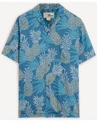 Reyn Spooner Hawaii Gold Pineapple Camp-collar Shirt - Blue