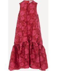 Erdem Tiered Rose Print Dress