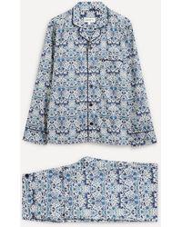 Liberty Lodden Organic Tana Lawn' Cotton Pyjama Set - Blue