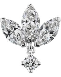 Maria Tash 6mm Diamond Engraved Lotus With Dangle Threaded Stud Earring - Metallic