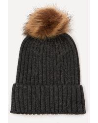 Christys' Wool-blend Pom Pom Beanie Hat - Grey