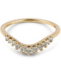 Anna Sheffield - Gold Tiara White Diamond Curve Ring - Lyst