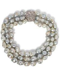Kojis White Gold Baroque Pearl And Diamond Necklace - Metallic