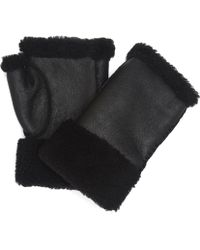 Portolano - Leather Shearling Fingerless Gloves - Lyst
