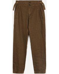 Pas De Calais Tapered Linen Trousers - Multicolour