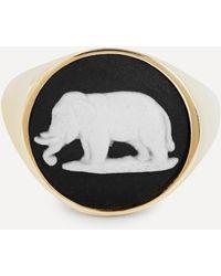 Ferian Gold Wedgwood Elephant Round Signet Ring - Metallic