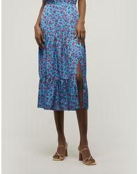 PAIGE Bestia Tiered Midi-skirt - Blue