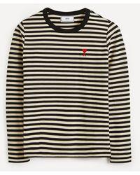 AMI Logo Stripe Cotton T-shirt - Multicolor