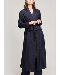Liberty Hera Silk Jacquard Long Robe - Blue