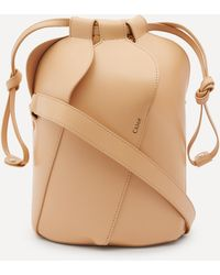 Chloé Tulip Small Leather Bucket Bag - Natural