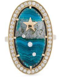 Andrea Fohrman Gold Chrysocolla And Diamond Ring - Metallic